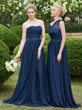 Beautiful Beaded Strapless Long Bridesmaid Dress