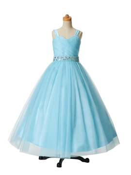 Beautiful Beaded Straps Ball Gown Flower Girl Party Dress