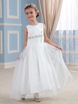 Beautiful Beadings A Line Flower Girl Dress