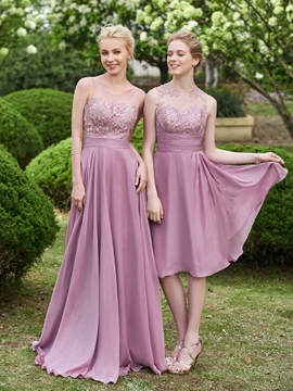 Beautiful Jewel Lace Knee Length Bridesmaid Dress