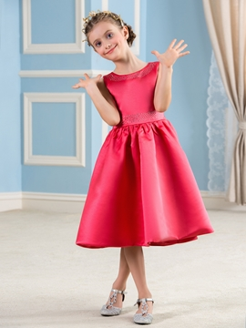 Beautiful Jewel Tea Length A Line Flower Girl Party Dress