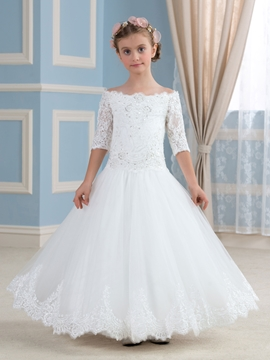 Beautiful Off The Shoulder Half Sleeves Flower Girl Dress