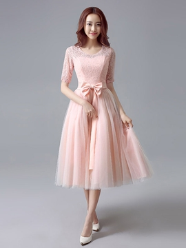 Beautiful Scoop Lace Tea Length Bridesmaid Dress