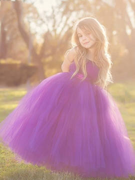 Beautiful Staps Ball Gown Tulle Flower Girl Party Dress