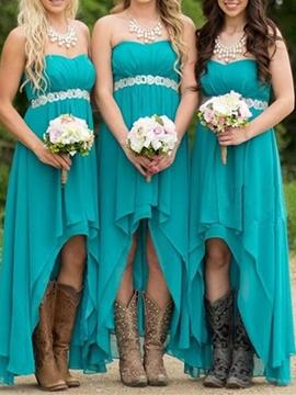 Beautiful Sweetheart Beaded High Low Bridesmaid Dress