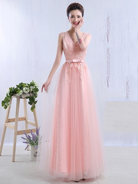 Beautiful V Neck Lace Long Bridesmaid Dress