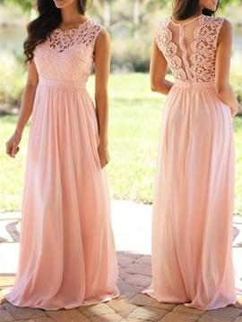 Bridesmaid Dress A Line Long Lace
