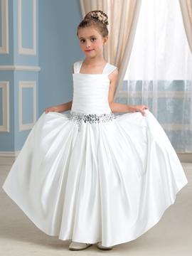 Casual Straps Floor Length Flower Girl Dress