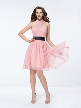Charming Halter A Line Short Bridesmaid Dress