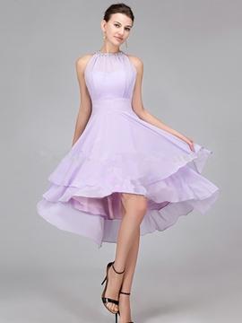 Charming Halter Asymmetry Bridesmaid Dress