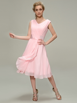 Charming Ruched A-Line V-Neck Tea-Length Bridesmaid Dress