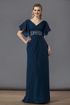 Charming Sheath-Column V Neck Floor-Length Beading Bridesmaid Dress