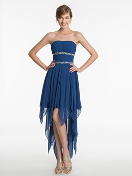 Charming Strapless High Low Bridesmaid Dress