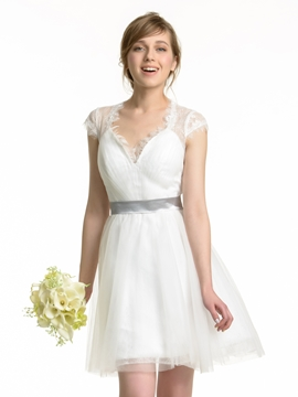 Charming V Neck Lace Short Bridesmaid Dress
