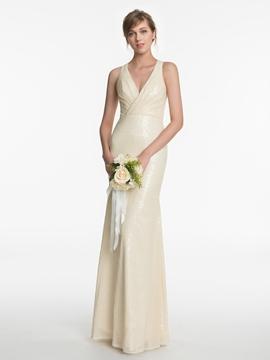 Charming V Neck Mermaid Sequins Bridesmaid Dress