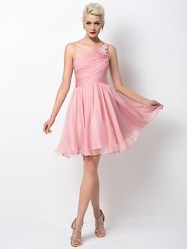Chic One Shoulder Short Bridesmaid Dress