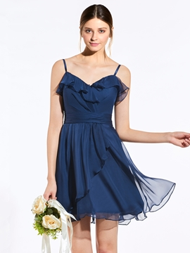 Classic Spaghetti Straps A Line Short Bridesmaid Dress