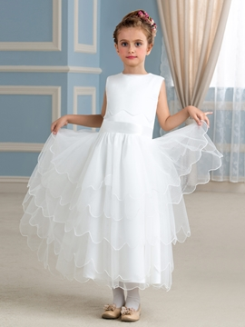 Classical Jewel A Line Flower Girl Dress