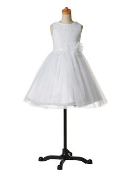 Classical Jewel Knee Length Flower Girl Dress