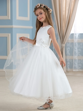 Cute Jewel Appliques A Line Flower Girl Dress