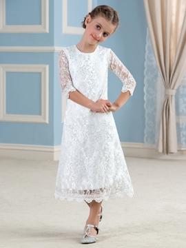 Cute Jewel Half Sleeves Lace Flower Girl Dress