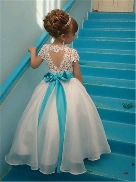 Cute Scoop Short Sleeves Beaded A-Line Flower Girl Dress