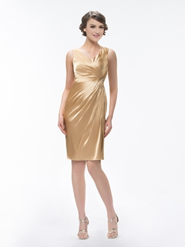 Cute V Neck Pure Color Sheath Knee Length Ruffles Crystal Bridesmaid Dress