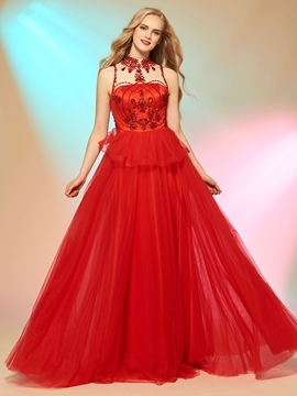 Delicate A Line Jewel Neck Beaded Floor Length Long Prom Party Dress