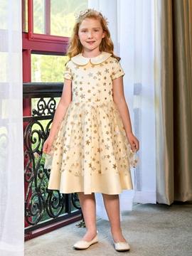 Doll Collar A Line Short Sleeves Knee Length Flower Girl Dress