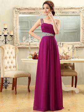 Elegant A-Line Beading One Shoulder Bridesmaid Dress