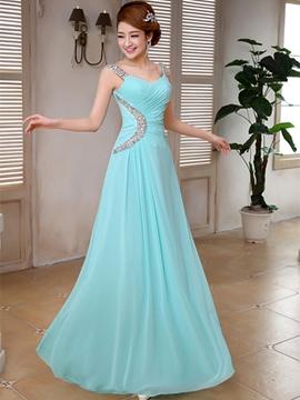 Elegant A-Line Straps Beading Bridesmaid Dress