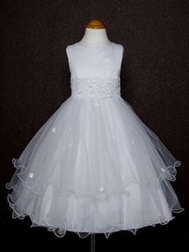 Elegant A-line Tea-length Round-Neck Appliques Flower Girl Dress