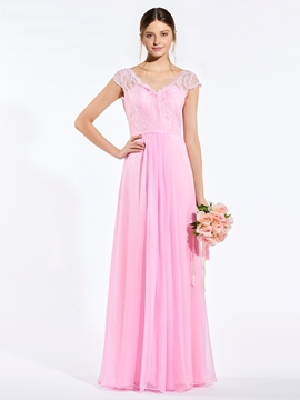 Elegant V Neck Cap Sleeves A Line Long Bridesmaid Dress