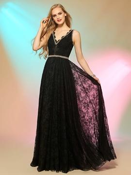 Fancy A Line V Neck Crystal Beaded Floor Length Lace Long Prom Dress