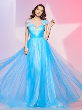 Fancy Design A Line Flower Tulle Deep Neck Floor Length Prom Dress