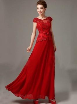 Gorgeous A-Line Scoop Appliques Cap Sleeves Bridesmaid Dress
