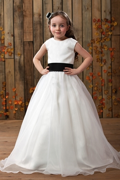 Gorgeous A-line Ankle-length Round-neck Sash Flower Girl Dress