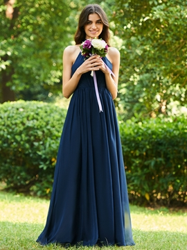 Halter A-Line Backless Bridesmaid Dress