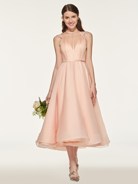 Halter A Line Tea Length Bridesmaid Dress