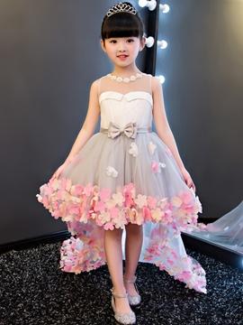 Hi-Lo 3D-Floral Flowers Bowknt Flower Girl Dress
