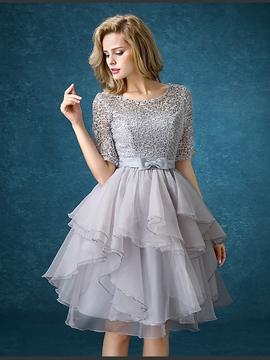 High Quality Lace Knee Length Bridesmaid Dress
