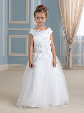 High Quality Off The Shoulder Floor Length Flower Girl Dress