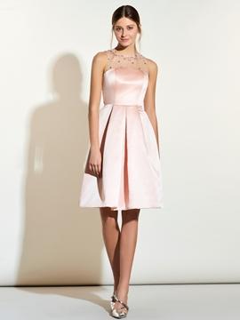 Jewel Beaded A Line Knee Length Bridesmaid Dress