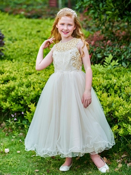 Jewel Beaded Ankle Length Flower Girl Dress