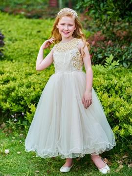 Jewel Beaded Ankle Length Flower Girl Dress