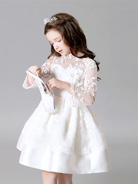 Lace Ball Gown Knee Length Flower Girl Dress