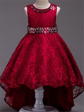 Lace High Low Beaded Flower Girl Party Dress