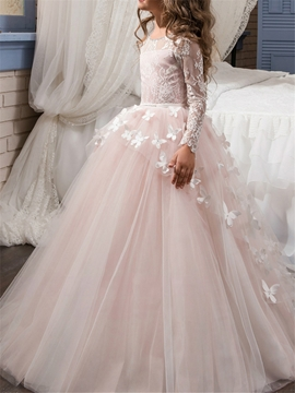 Lace Long Sleeves Ball Gown Flower Girl Dress