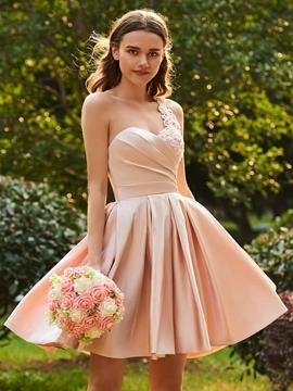 Matte Satin A Line Pink Knee Length Bridesmaid Dress