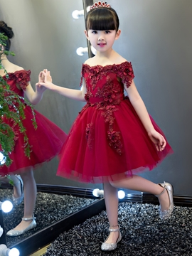 Off The Shoulder Short Sleeves Appliques Knee Length Flower Girl Party Dress
